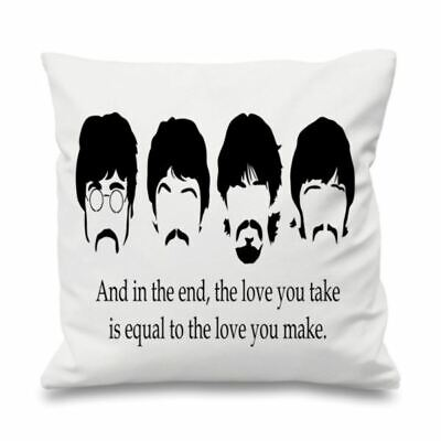 Quote Cushion Cover Cotton Throw Pillow Case Gift The Love You Take Beatles • 11.99£