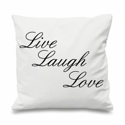 Quote Cushion Cover Cotton Throw Pillow Case Printed Gift Live Laugh Love • 11.99£