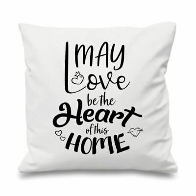 Quote Cushion Cover Cotton Throw Pillow Case Gift May Love Be Heart Of The Home • 11.99£