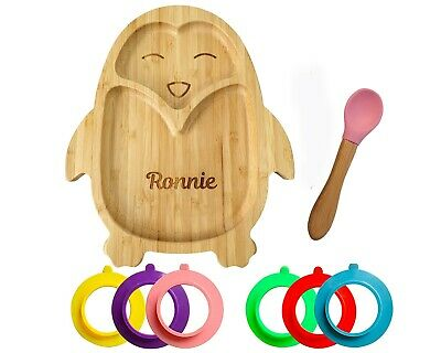 £15.95 • Buy Personalised Baby Plate Bamboo Bamboo Plates With Suction Stay Put Plate Penguin