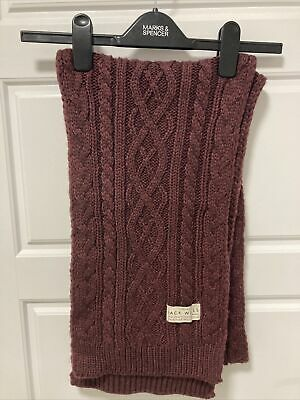 £9 • Buy Ladies Jack Wills Burgundy Damson Cable Knit Wool Mix Scarf Winter