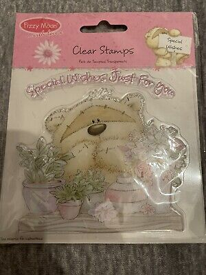 Fizzy Moon *CLEAR TRANSPARENT STAMP* Teddy Bear  Special Wishes  10cm NEW Sealed • 2.99£
