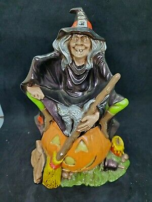 $ CDN26.45 • Buy Vintage 1974 Hand Made Ceramic Halloween Wicked Witch On Pumpkin Detailed
