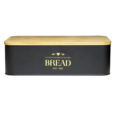 $37.49 • Buy Bistro Tin Bread Box With Bamboo Lid, Black