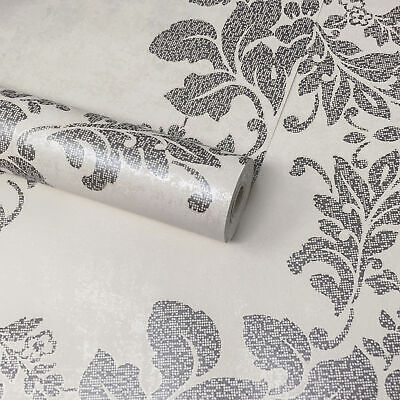 Fine Decor - Cream, Champagne & Pewter Silver Floral Damask Feature Wallpaper • 7.99£