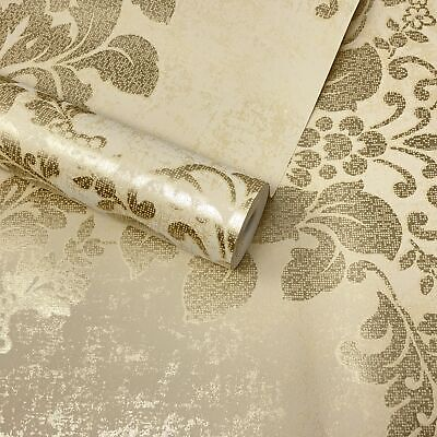 Paste The Wall - Cream, Beige & Gold Textured Floral Damask Wallpaper - DL22823 • 7.99£