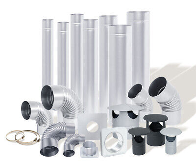 STEEL FLUE PIPES / ELBOWS / RAIN CAPS From 4 Inch / 100mm To 8 Inch / 200 Mm • 11.49£
