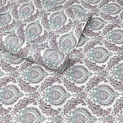 Fine Décor - Natural, Green And Purple Floral Damask Feature Wallpaper - FD22231 • 7.99£