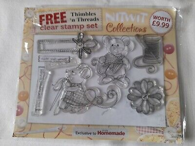 Clear Rubber Stamps Card Making French Knitting Mice • 2£