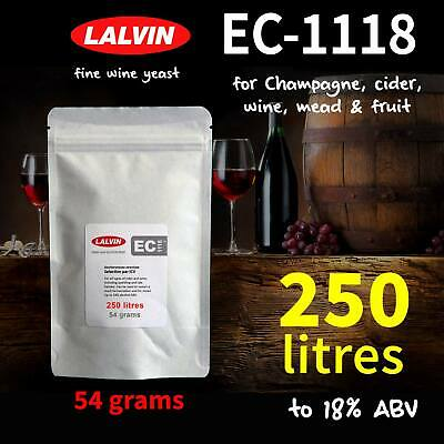 £13.99 • Buy Lalvin EC-1118 Wine & Champagne Yeast. Up To 250 LITRES - 54 Gram Pack, 18% ABV