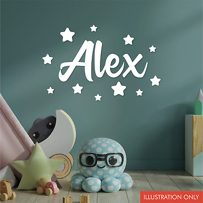 Personalised Name Wall Sticker With Stars For Children Kids Bedroom Nursery • 5.99£