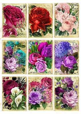 £2.99 • Buy  Card Toppers Roses, Card Making, Botanical Scrapbook, Flower Tags,Journaling