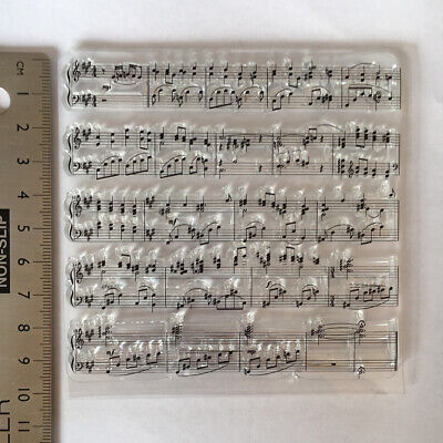 Clear Rubber Stamp Music Notes Background Steampunk Vintage Card Making • 4.79£