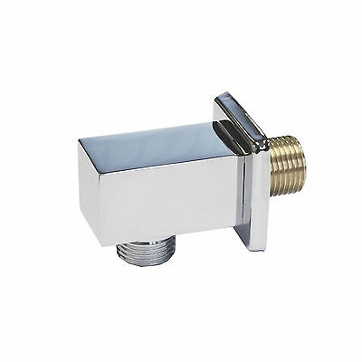 £12.95 • Buy Chrome Square Shower Wall Outlet Elbow Brass Hose Connector