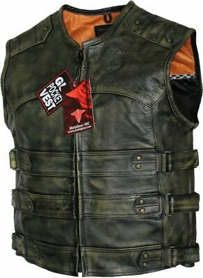 $59.99 • Buy Men's Tactical Style Side Buckle Motorcycle Leather Vest Concealed Carry