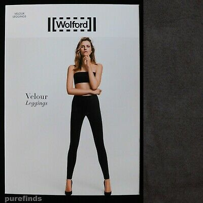Wolford Velour Graphit Leggings Size 40 Uk 12 Suede Effect Rrp £225 • 139£