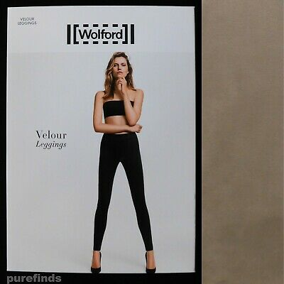Wolford Velour Taupe Grey Leggings Size 40 Uk 12 Suede Effect Rrp £225 • 139£