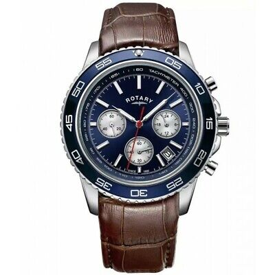 Rotary Mens Blue Dial Chronograph Brown Leather Watch Gents GS03068/05 • 80.99£