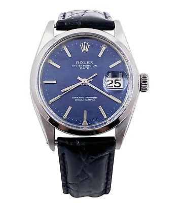 $ CDN4374.52 • Buy Rolex Date 1500 Blue Mosaic Dial Stainless Custom Black Leather Band