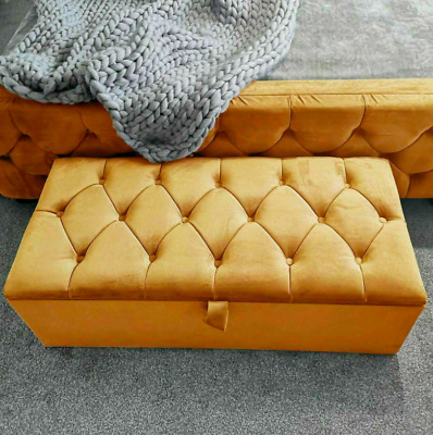 Large Plush Velvet Chesterfield Ottoman Bench Storage Box Blanket Box Toy Box • 64£