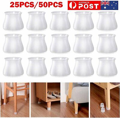 AU5.90 • Buy 25/50pcs Table Chair Feet Cover Silicone Furniture Leg Pad Floor Protector Cap