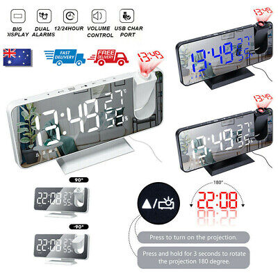 AU29.99 • Buy LED Digital Projection Alarm Clock FM Radio Snooze Dimmer Ceiling Projector NEW