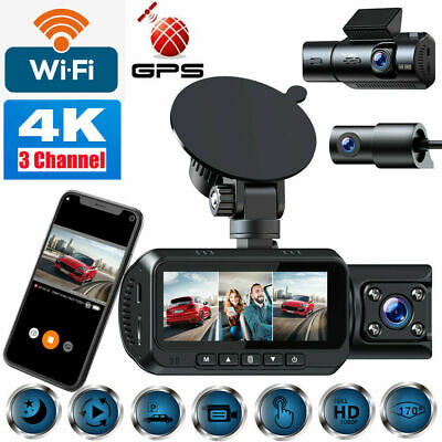 AU122.14 • Buy TOGUARD 3 Channel WiFi Dash Cam 4K Front+1080P Rear Cabin Camera GPS NightVision
