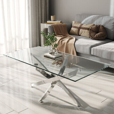 Rectangle Glass Coffee Table With Chrome Cross Legs Modern Living Room Furniture • 105.95£