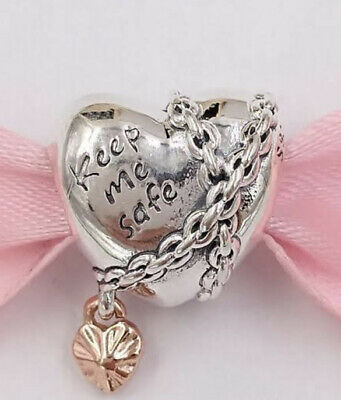 AU59 • Buy Genuine Pandora Charm Sterling Silver & Rose Gold Chained Heart 788344