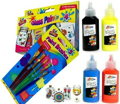 £5.99 • Buy Glass Paint + Painting Brush Black Outliner Transparent Opaque Stained Paints