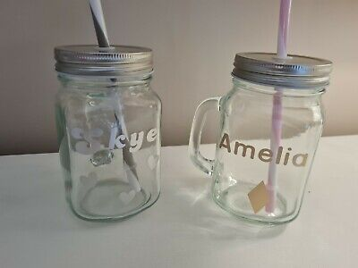 Personalised 'Mason Jar' With Lid And Straw • 4£