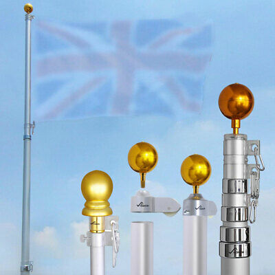6.5ft/20ft/25ft Aluminum Telescoping Flag Pole Kit Wall Mounted With Gold Ball  • 59.99£