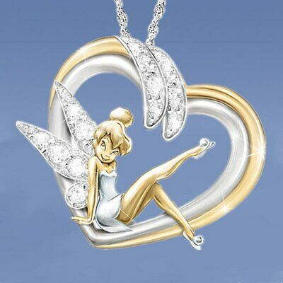 £2.99 • Buy Lovely Silver Tone Crystal Heart Tinkerbell Fairy Necklace. In Organza Gift Bag,