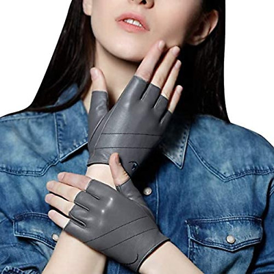 £10.24 • Buy FIORETTO Womens Genuine Leather Fingerless Gloves Unlined-Grey