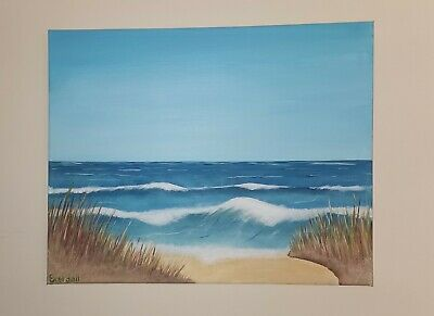 Original Canvas Painting. Beach Scene. Sea And Waves Crashing On The Sand.  • 25£