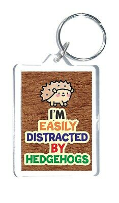 £3.25 • Buy Fun Hedgehog Lover Gift - Novelty Keyring - I'm Easily Distracted By Hedgehogs