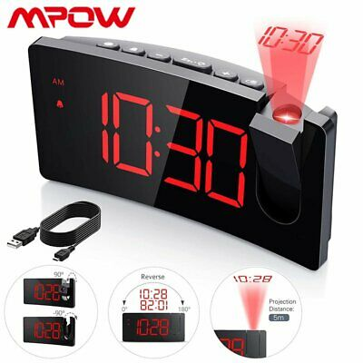 AU35.69 • Buy Mpow Projector LED Digital Alarm Clock Snooze Time Display Projection Bedside