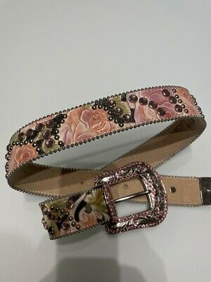 $ CDN402.53 • Buy BB Simon Pink Jeweled And Studded Fancy Belt, New