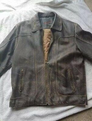 $60 • Buy Mens Distressed Leather Jacket - Rouge By Reilly Olmes | Medium | Brown Leather