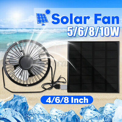 AU19.98 • Buy 5/8/10W Solar Powered Panel Fan Home Desk Car Outdoor Cooler USB Caravan
