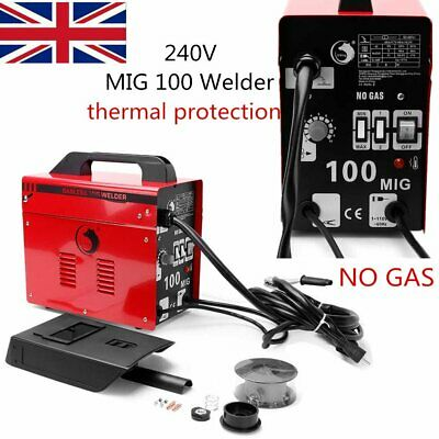 MIG 100 Gasless Welder NO GAS Welding Machine 240V Kit Thermal Protection UK • 113.99£