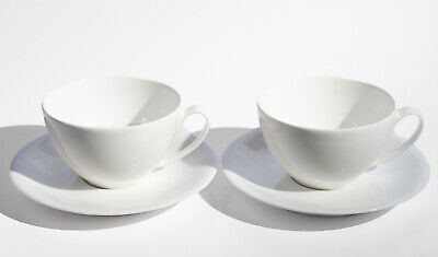 £19.99 • Buy China By Denby White Two Tea Cups & Saucers Fine Porcelain - Unused