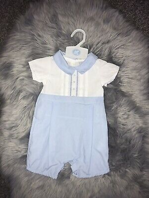 £12 • Buy Baby Boy Spanish Style Romper Bloomers All In One Babygrow Blue White