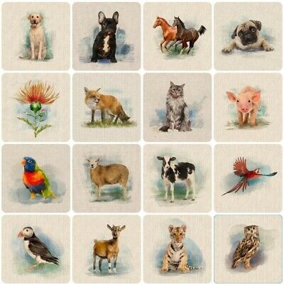 £5.70 • Buy 39 NEW! Country Creatures Animal Linen-Look Cotton-Rich Fabric CUSHION PANELS.