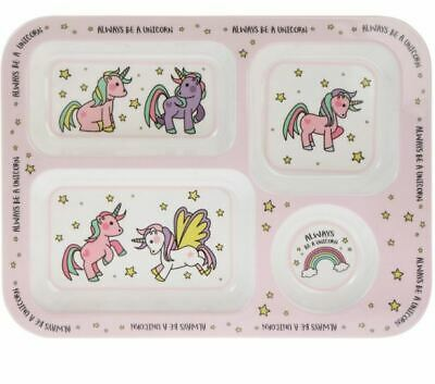£6.49 • Buy Little Stars Girls Unicorn Section Tray Dividing Compartment Plate Kids Feeding