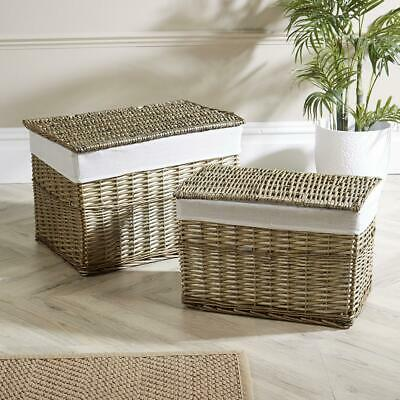 Large Willow Storage Baskets Lined Woven Wicker Hamper With Lid Set Of 2 • 49.99£