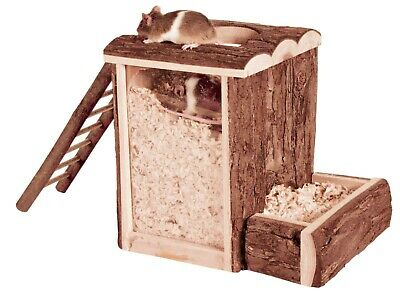 Wooden Play & Burrow Tower With 2 Entrances Ladder & Acrylic Glass Hamster Toy • 14.99£