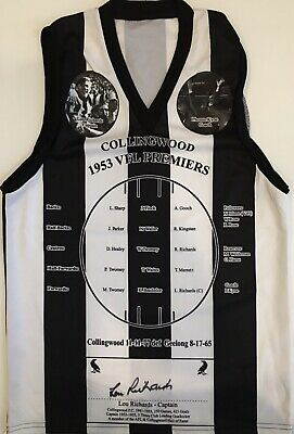 AU149 • Buy LOU RICHARDS Signed Jumper 1953 Premiership Captain Collingwood Magpies COA