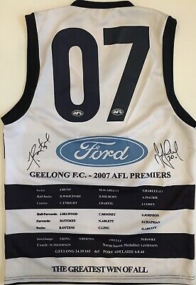 AU299 • Buy JIMMY BARTEL & STEVE JOHNSON Signed Jumper Premiers 2007 Geelong Cats AFL COA
