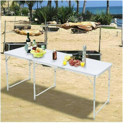 £38.95 • Buy 6ft Picnic Portable Folding Camping Table Aluminium Adjustable Party BBQ Outdoor